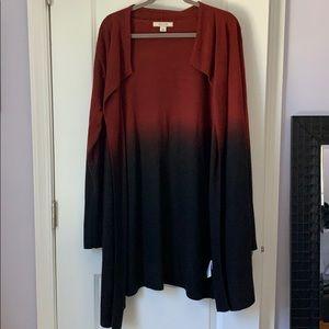 Adam Levine red black ombré long sweater